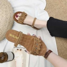WOMEN - FLOWER SANDAL (BROWN)