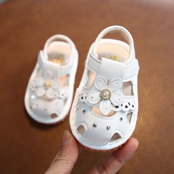 SANDAL WITH SOUND FLOWER (WHITE)